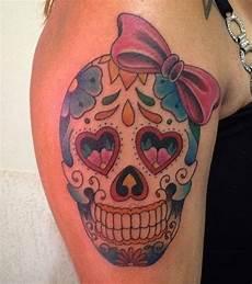 photo tatouage t 234 te de mort mexicaine sur le bras