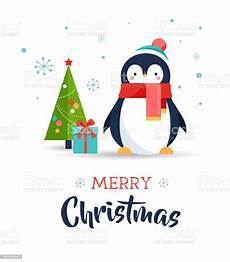 cute penguin merry christmas greeting card stock vector art more images of animal 607464644