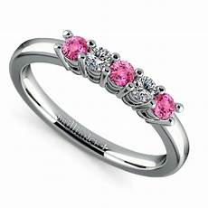 five diamond pink sapphire wedding ring in white gold 1