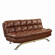 furniture of america faux leather sofa bed in