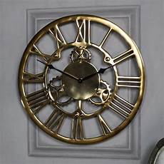antique gold metal cog skeleton wall clock melody maison 174