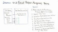 secrets to a great project management resume
