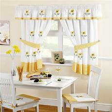 Kitchen Curtains In by Sunflower Yellow Embroidered Gingham Kitchen Curtains 46