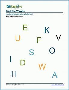 identifying vowels worksheets for preschool kindergarten k5 learning