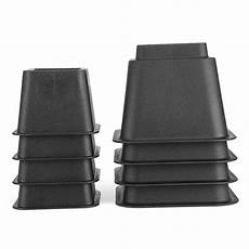 qiilu black 8pcs heavy duty bed risers furniture risers set pp sturdy adjustable stackable up to