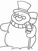 Snowman4 Winter Coloring Pages Page & Book For Kids