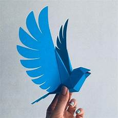 How To Make A 3d Bird Model | bluebird twitter make your own low poly bird on fly etsy in 2020 geometric bird paper