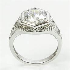 deco sterling silver diamond replica engagement