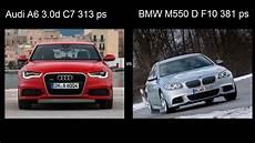 audi a6 313 ps bmw m550 d f10 xdrive 381 ps vs audi a6 3 0 diesel c7 313