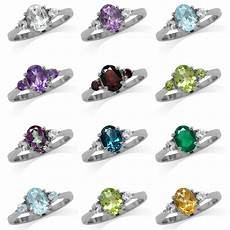 genuine gemstone white gold plated 925 sterling silver