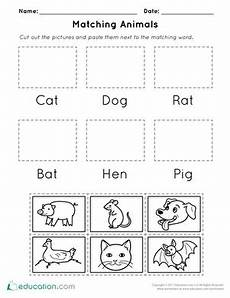 animals worksheets for kindergarten 14059 matching animals worksheet education