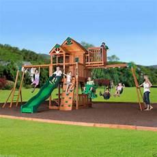 swing club new outdoor skyfort ii cedar wooden swingset play set