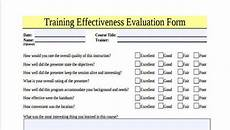 9 training evaluation form sles free sle exle format download