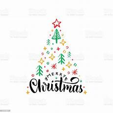 merry christmas lettering white backgroundvector drawn illustration of spruce treehappy