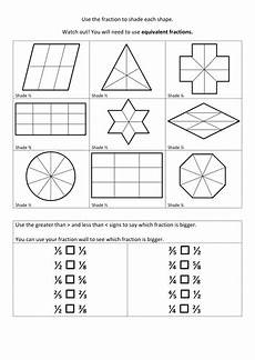 fraction shaded in worksheets 3980 equivalent fractions of shapes teaching resources