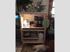 My coffee bar from a repurposed computer armoire   For the