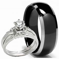black titanium mens band and 2 pc womens engagement wedding cz ring his hers ebay
