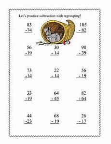 thanksgiving subtraction with regrouping worksheets 10720 thanksgiving themed math addition and subtraction with and without regrouping