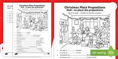 christmas place prepositions fill in the gaps worksheet
