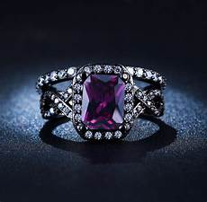 black gold plated purple zircon amethyst vintage jewelry cz diamond wedding rings for