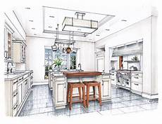 Kitchen Design Drawings by New Beaux Arts Kitchen Rendering Watercolor Interior