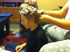 mom puts curlers in boys hair the hughes news crazy hair day