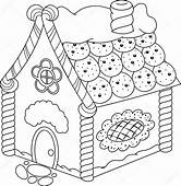 Candy House For Christmas Coloring Page  Free Printable