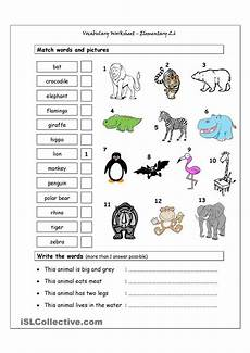 animals worksheets exercises 13776 vocabulary matching worksheet elementary 2 6 animals for children
