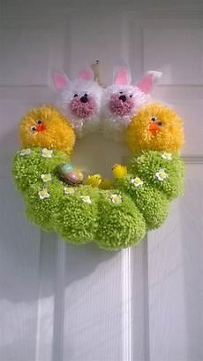 easter wreath handmade alternative pompom by