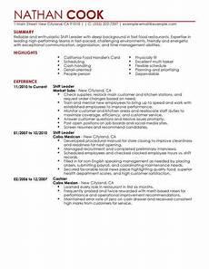 shift leader resume sle leader resumes livecareer