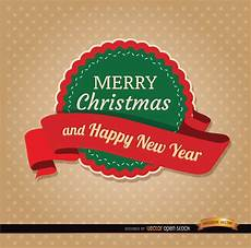 merry christmas round label ribbon vector download