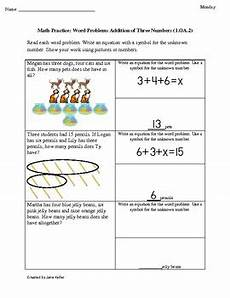 1st grade common core math worksheets word problems with three addends 1 oa 2
