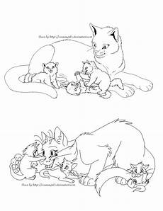 free cat family lineart realistic and by