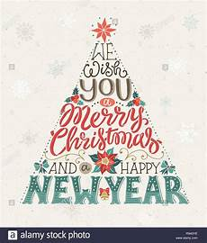 drawn christmas tree lettering we wish you a merry christmas and a happy new year greeting