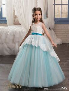 girls wedding dresses 2017 pentelei with lace up back and bow sash appliques tulle sky blue