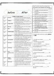 english worksheets preposition of time after before