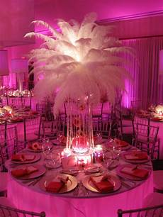 white feather burst crystal beaded base sweet 16 party themes feather centerpieces ostrich