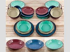 Rustic Dinnerware Service Dishes Bowls Salad Dinner Plates