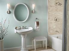 small country bathroom decorating ideas country bathroom design idea quot wythe blue quot walls with white pedestal sink small
