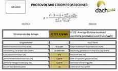 Rentabilit 228 T Photovoltaik 2017 Dynamische