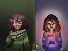frisk and chara painting undertale amino