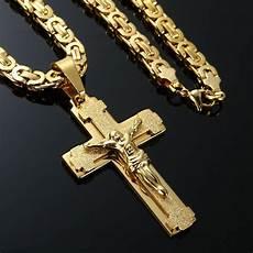 Kreuz Kette - mens stainless steel cross necklace chain 18k gold filled