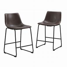 walker edison brown faux leather counter stools set of 2