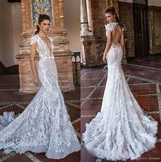 2018 berta fall mermaid wedding dresses v neck backless lace bridal gowns with feathers sweep