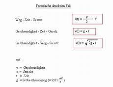 freier fall herleitung der formel