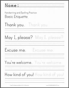 handwriting worksheets 2nd grade 21395 basic etiquette handwriting and spelling worksheet free to print pdf file primary grades