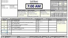 callsheet glossary of video photo aka crew list