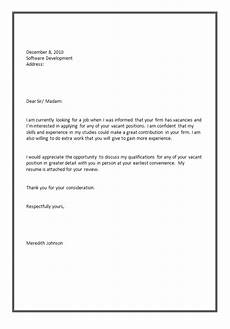 software tester application letter sle job application letter for a application letter