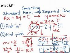 converting standard form to slope intercept form math