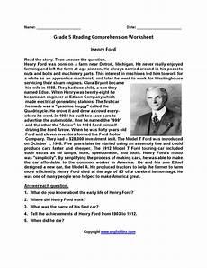 fifth grade reading comprehension worksheets printable